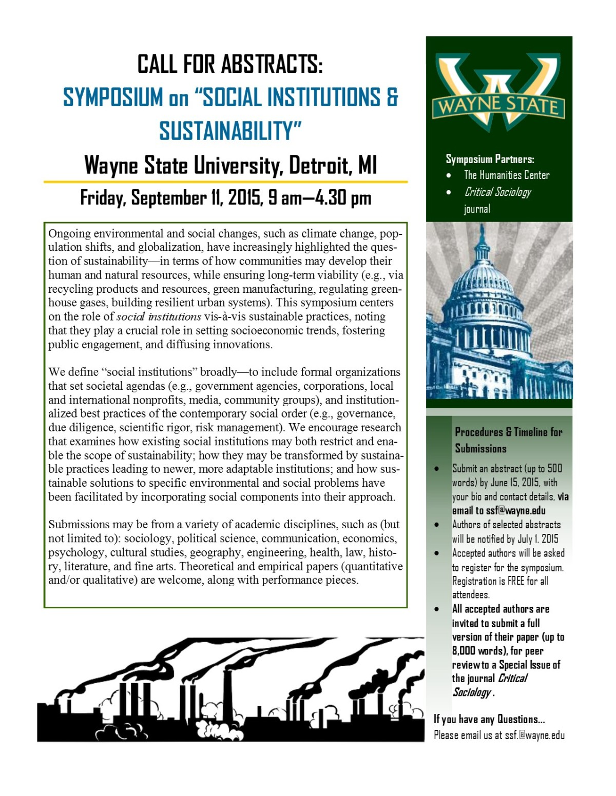 "Upcoming deadline for ""Social Institutions & Sustainability"" research symposium at Wayne State University: June 15, 2015"