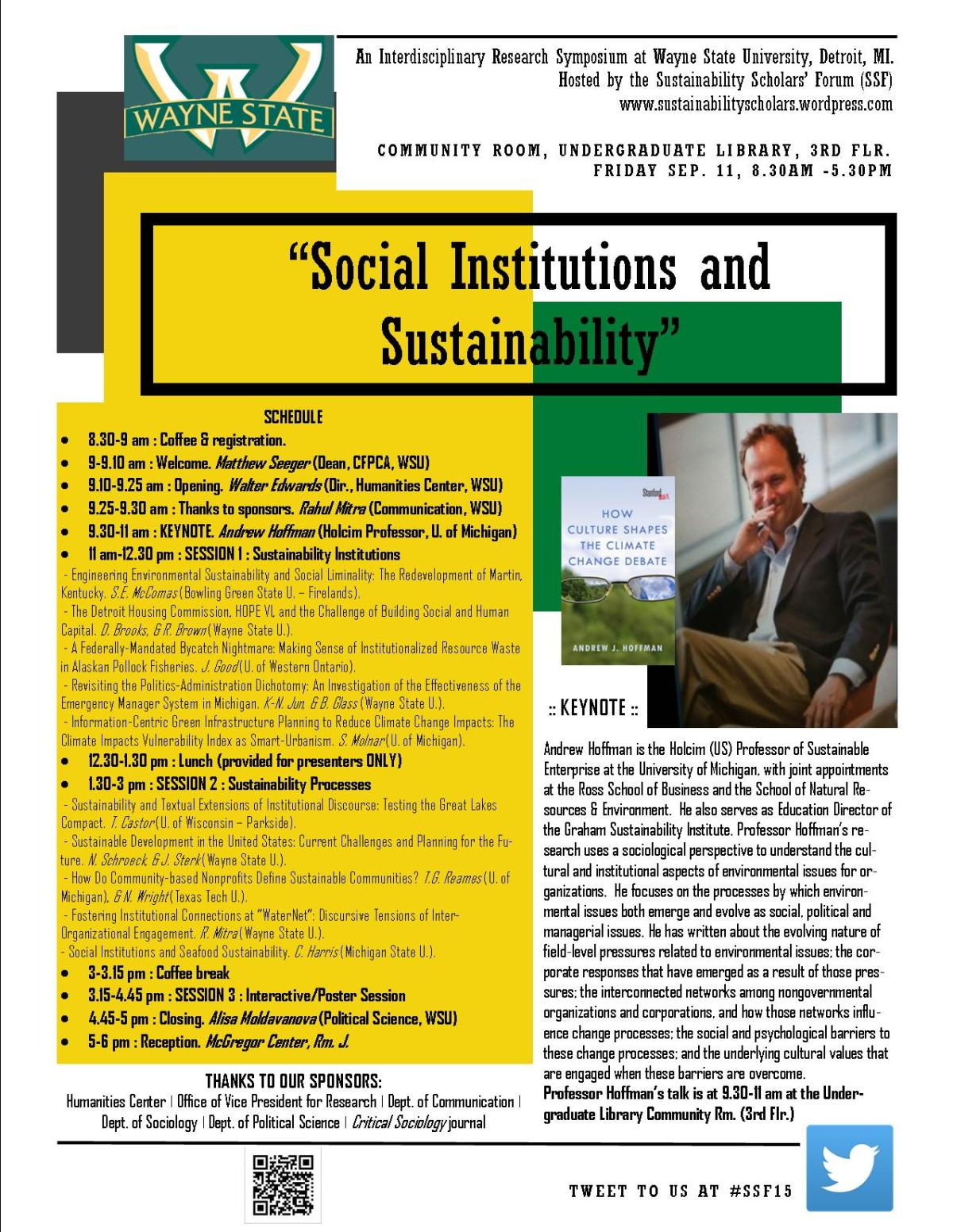 "Gearing up for ""Social Institutions & Sustainability"" Symposium next week! #SSF15"